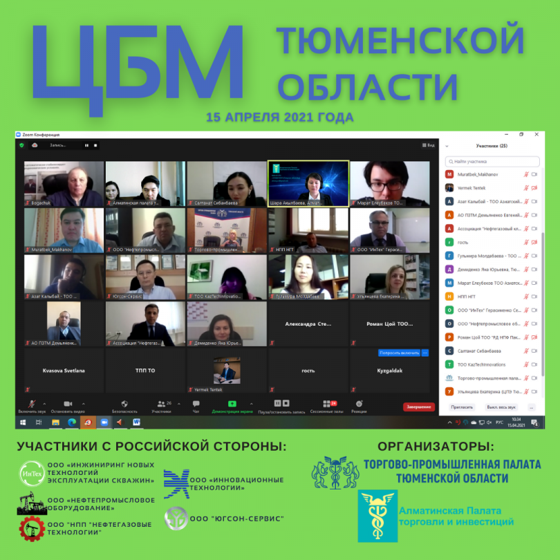 Цифровая бизнес-миссия предприятий Тюменской области в Казахстане, 15 апреля 2021 года
